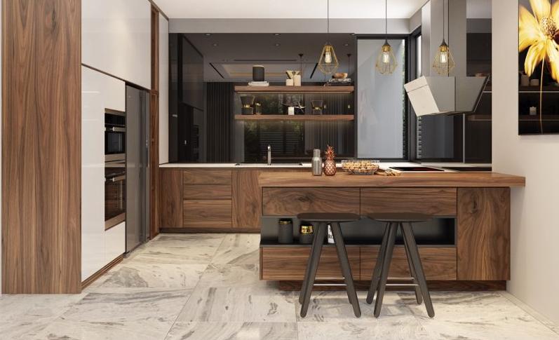 Tủ bếp gỗ công nghiệp có kiểu dáng hiện đại