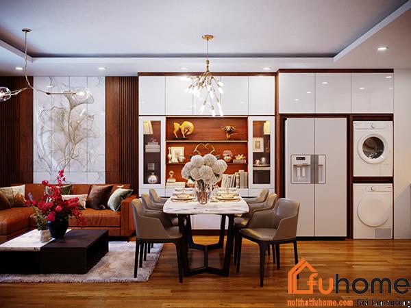 Thiết kế nội thất phòng khách tạo nên sự hài hòa và cân đối