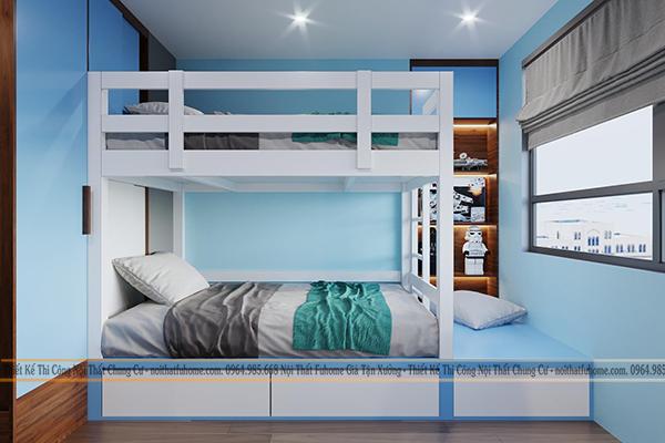 Thiết kế nội thất phòng ngủ cho con căn hộ chung cư 100m2