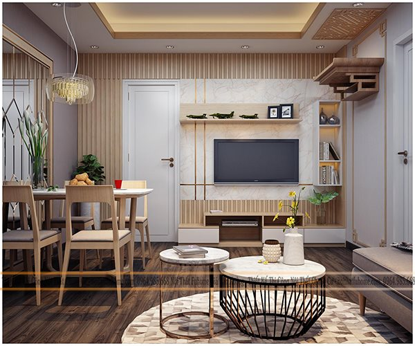 Phong cách thiết kế nội thất căn hộ chung cư 65m2 tân cổ điển