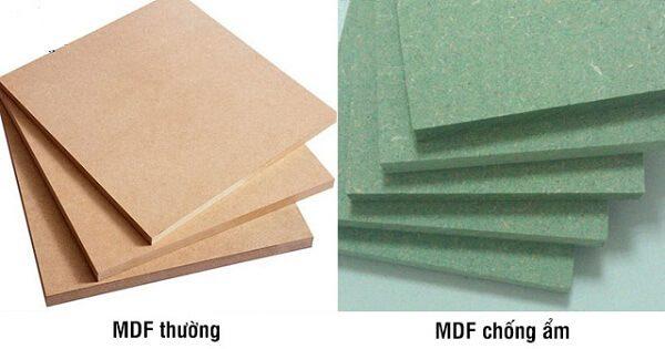 ván gỗ công nghiệp mdf lõi xanh và mdf thường
