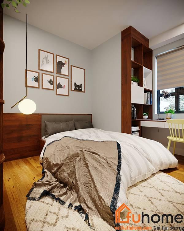 Thiết kế nội thất căn hộ chung cư 70m2 cho phòng ngủ