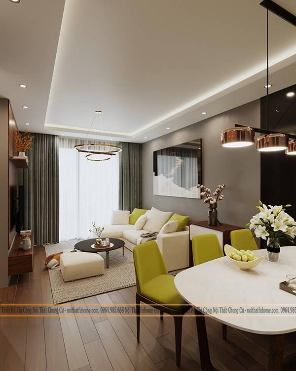 Thiết kế nội thất phòng khách liền bếp giúp tạo ra không gian mở cho căn nhà